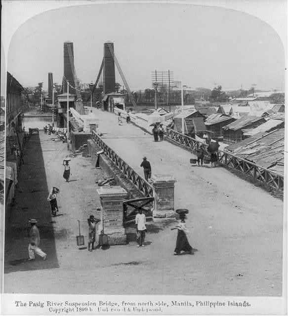 """[Manila, P.I., 1899: """"Pasig River suspension bridge, from north""""]"""