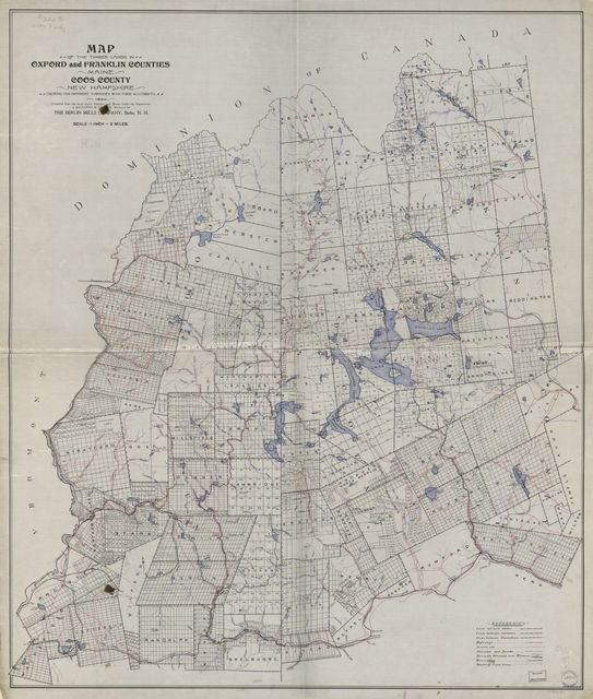 Map of the timber lands in Oxford and Franklin counties, Maine, Coos County, New Hampshire : showing the different townships with their allotments, 1899 /