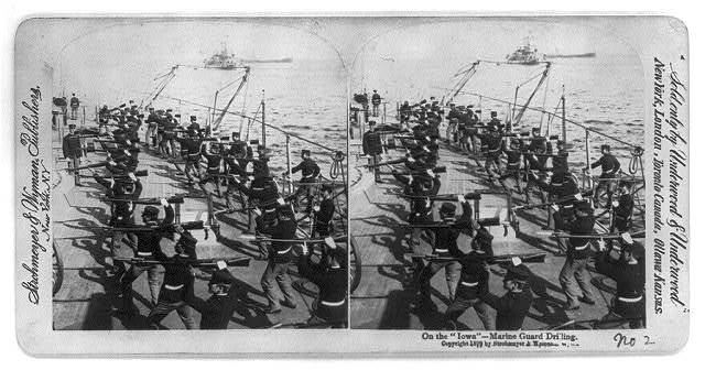 Marine guard drilling on Battleship USS IOWA