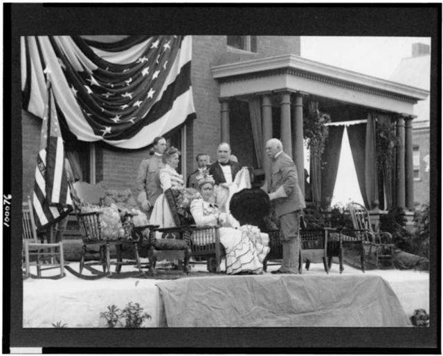 President and Mrs. McKinley on reviewing stand at Plattsburgh Barracks, N.Y. / Woodward, Plattsburgh, N.Y.