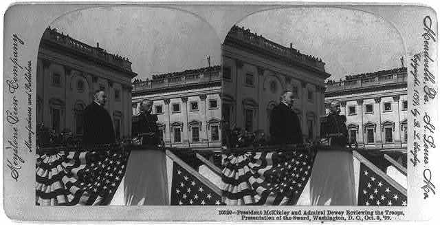 President McKinley and Admiral Dewey reviewing the troops. Presentation of the sword, Washington, D.C.