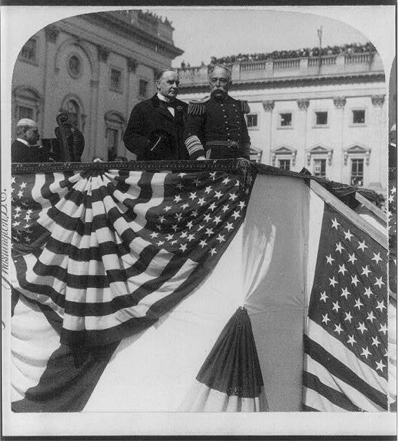 President McKinley presenting Admiral Dewey to the cheering crowds at the Capitol, Washington