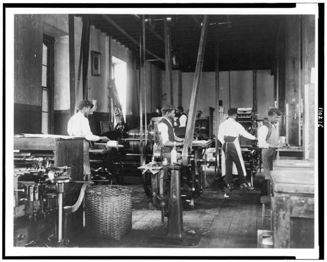 [Pressmen at work in printing shop, Hampton Institute, Hampton, Virginia]