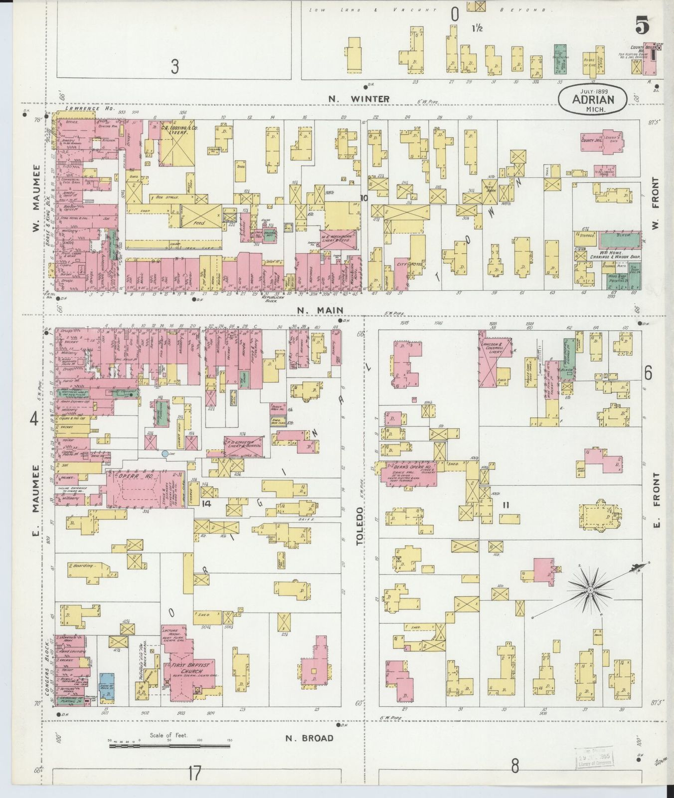 Sanborn Fire Insurance Map from Adrian, Lenawee County, Michigan.