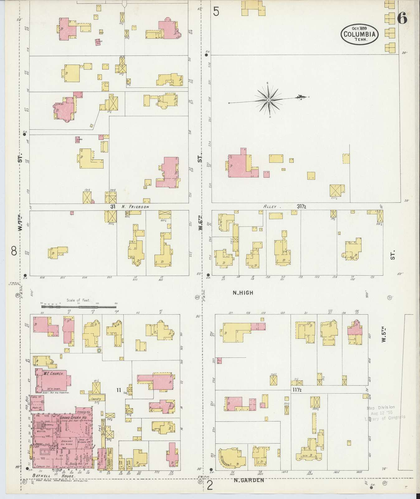 Sanborn Fire Insurance Map from Columbia, Maury County, Tennessee