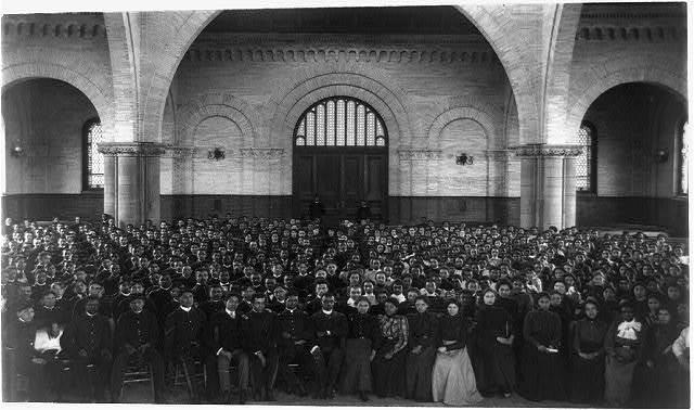 [School assembly in Hampton Institute, Hampton, Va.]