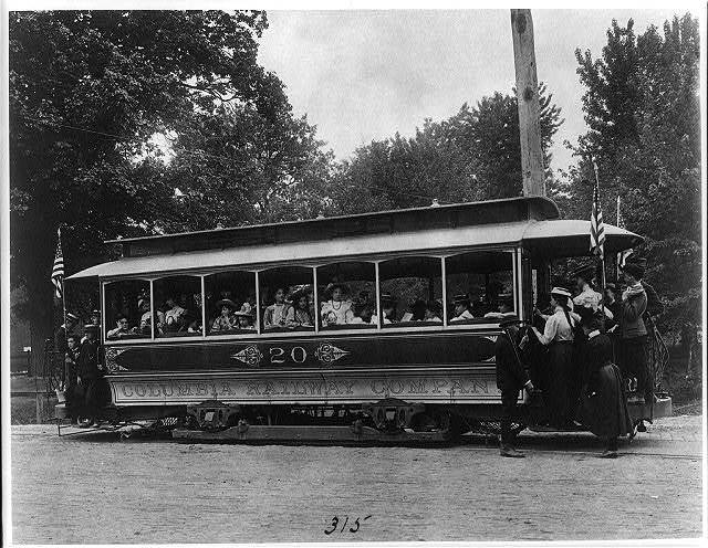 [School children of the 6th Division on a Columbia Railway Company trolley car no. 20]
