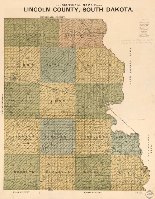 Sectional map of Lincoln County, South Dakota.