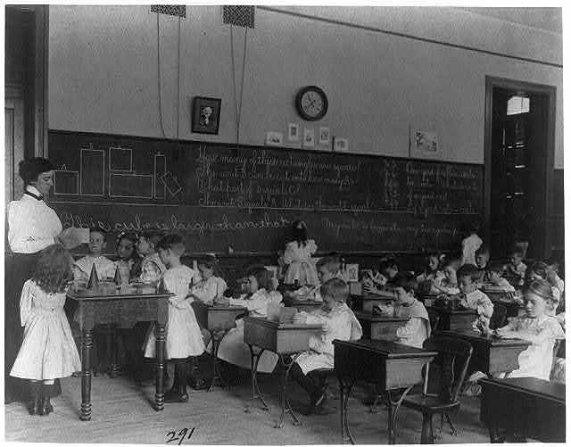 [Small children studying geometry in a classroom in Washington, D.C.]