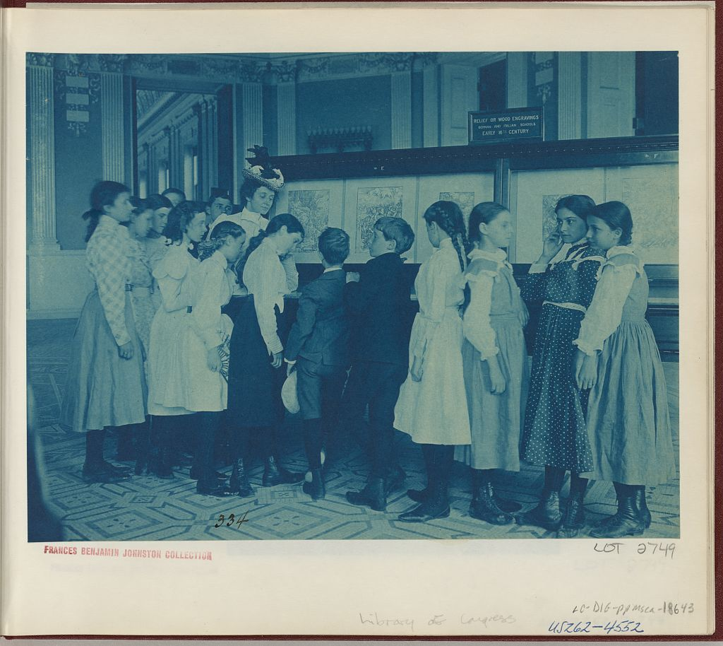 [Students from 6th Division public schools, Washington, D.C., looking at an exhibit of fine prints in the Library of Congress]