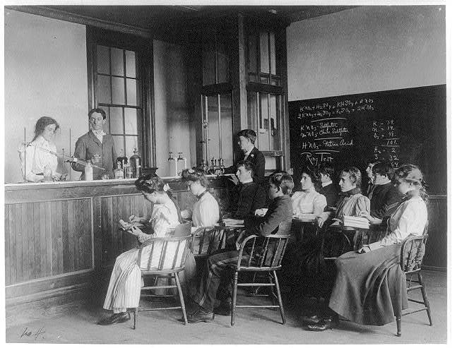 [Students in a chemistry class observing others conducting an experiment, Western High School, Washington, D.C.]