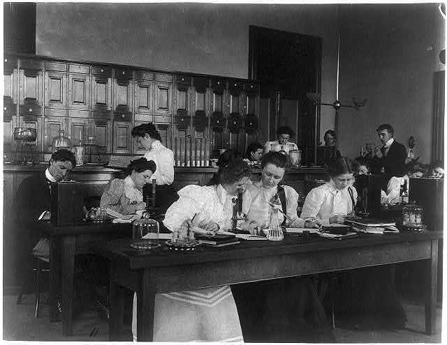 [Students in a science class using microscopes, Western High School, Washington, D.C.]