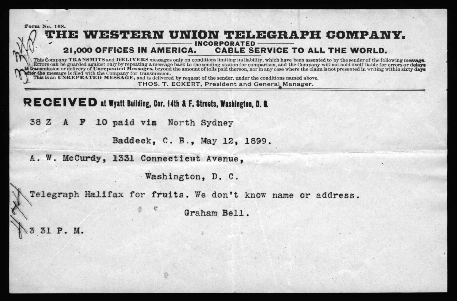 Telegram from Alexander Graham Bell to Arthur McCurdy, May 12, 1899