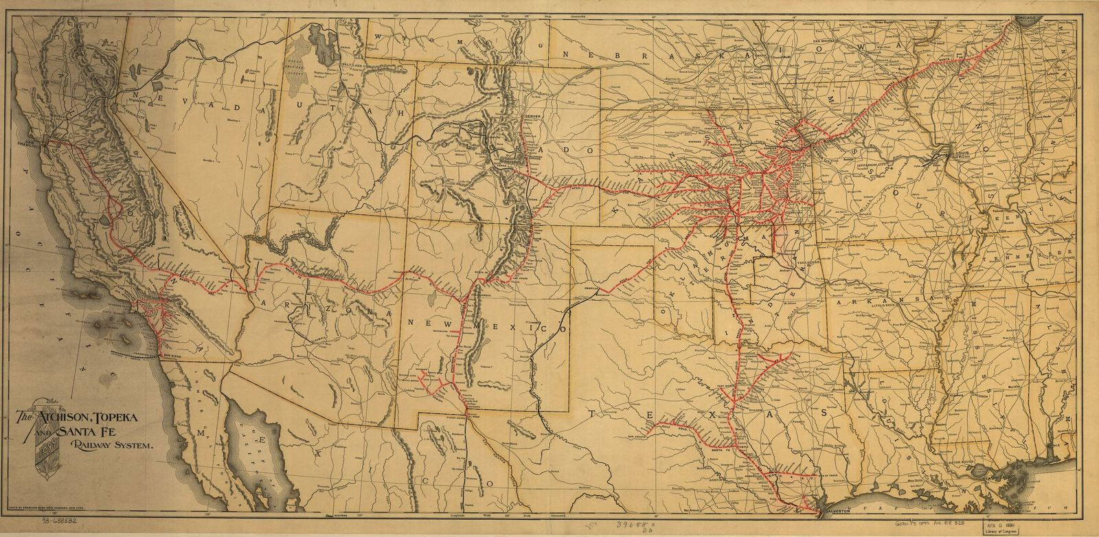 The Atchison, Topeka and the Santa Fe railroad system, 1899.
