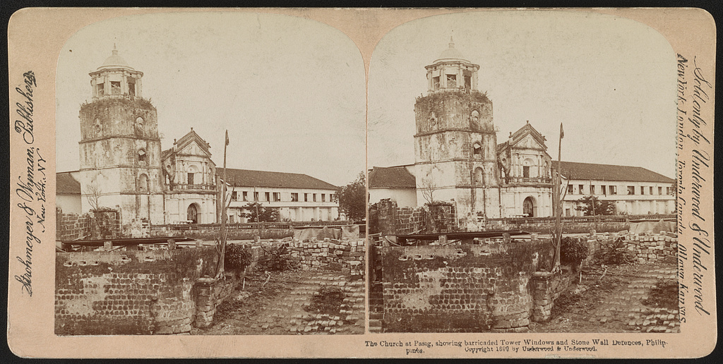 The church at Pasig, showing barricaded tower windows and stone wall defences, Philippines / Strohmeyer & Wyman, publishers, New York, N.Y.