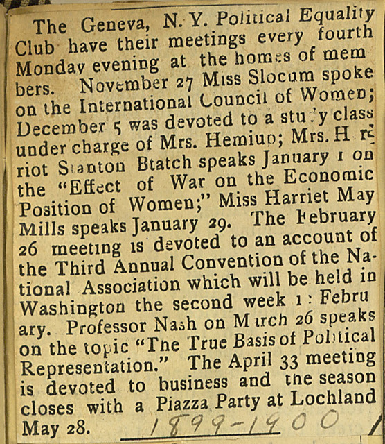 The Geneva New York Political Equality Club 1899-1900 Meeting season