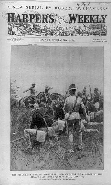 The Philippines--Brigadier-General Loyd Wheaton, U.S.V., ordering advance at Stone Quarry Hill, March 13 / Frederic Remington, adapted from photographs.