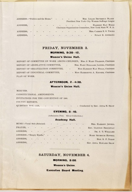 Thirty-First Annual Convention of the New York State Woman Suffrage Association Dunkirk, November 1, 2, 3 and 4, 1899
