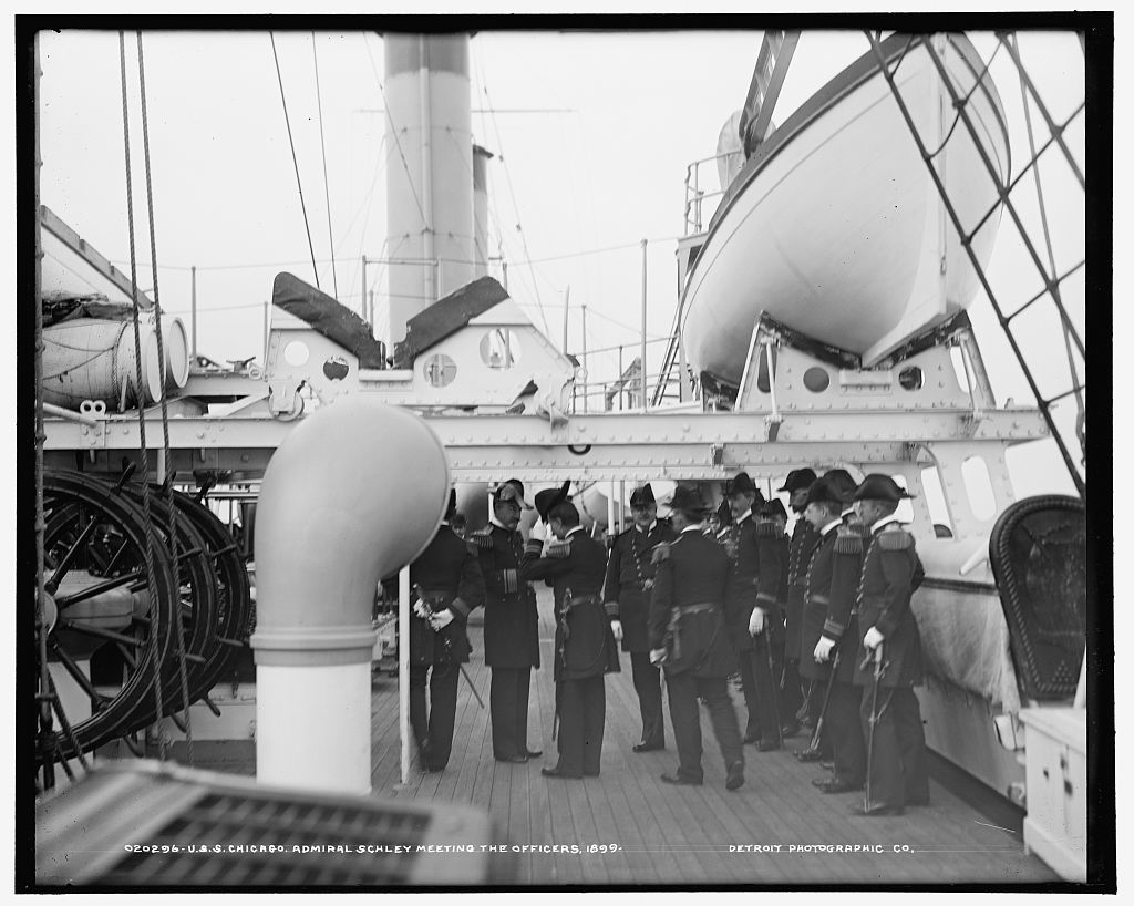 U.S.S. Chicago, Admiral Schley meeting the officers