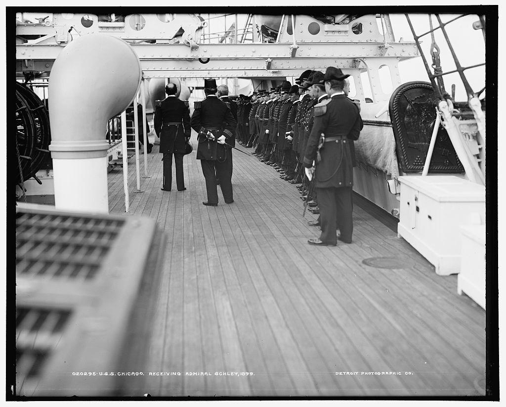 U.S.S. Chicago, receiving Admiral Schley