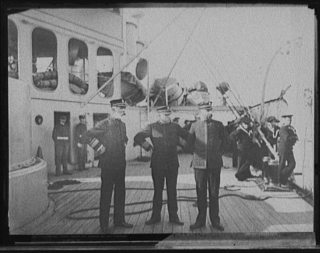 U.S.S. New York, Admiral Sampson, Capt. Chadwick and Lieut. Commander Staunton