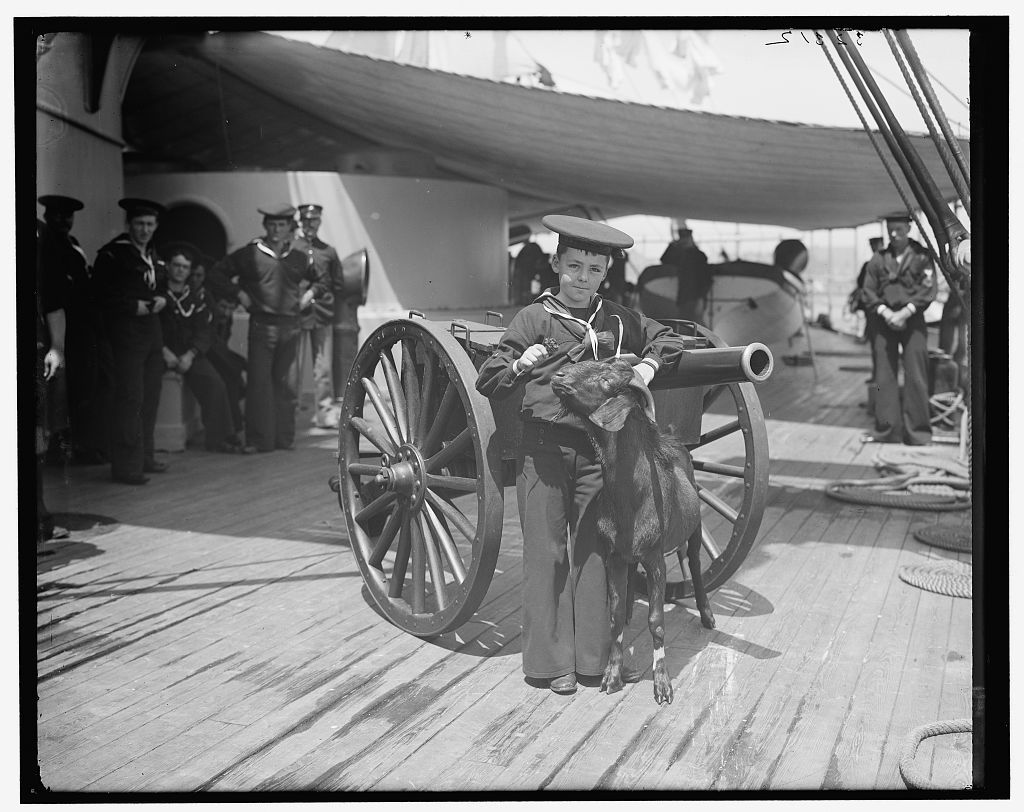 [U.S.S. New York, Admiral Sampson's son and Pitch the Mascot]