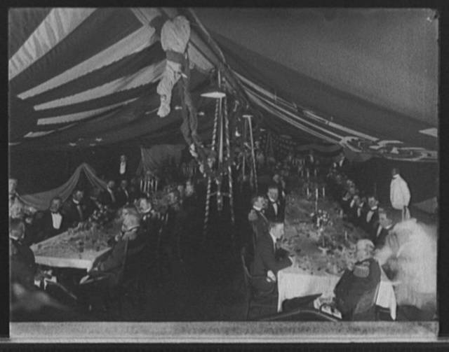 U.S.S. New York, dinner to Admiral Sampson by officers of the squadron at Newport, on anniversary of Battle of Santiago