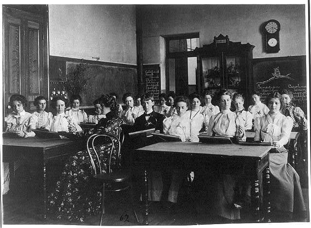 [Washington, D.C. public schools - Normal School class examining flowers]