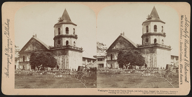 Washington troops at the Taquig [i.e. Taguig] church, just before they charged the Filipinos - sentinels watching the enemy - P.I. / Strohmeyer & Wyman, publishers, New York, N.Y.