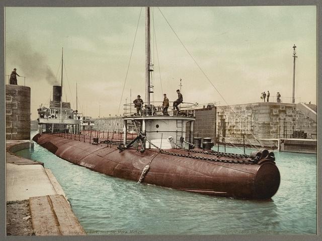 """Whaleback"" leaving Poe Lock, Sault Ste. Marie, Michigan"