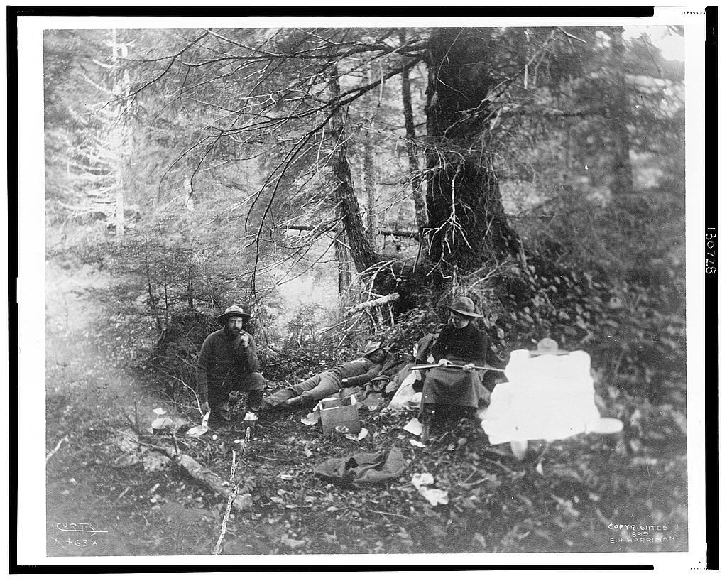 [Two men and one women in forest in Alaska, 1899] / Curtis.