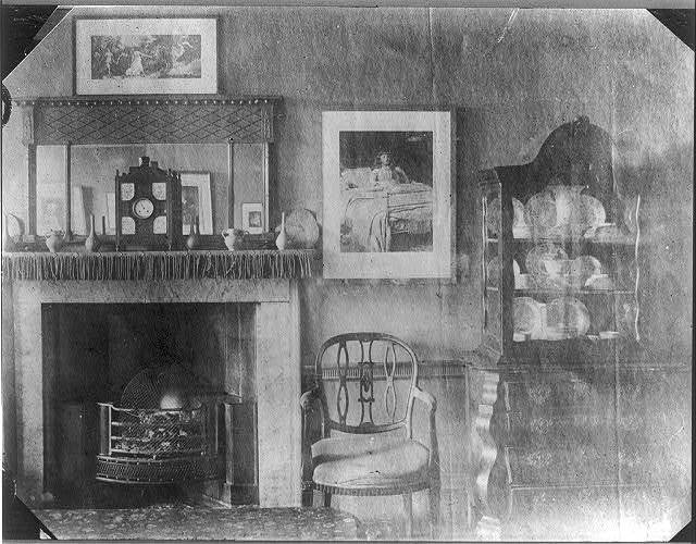 [96 Cheyne Walk - Dining room - Peacock blue distemper. The little white girl was painted in this room. Whistler also used the room as a studio]