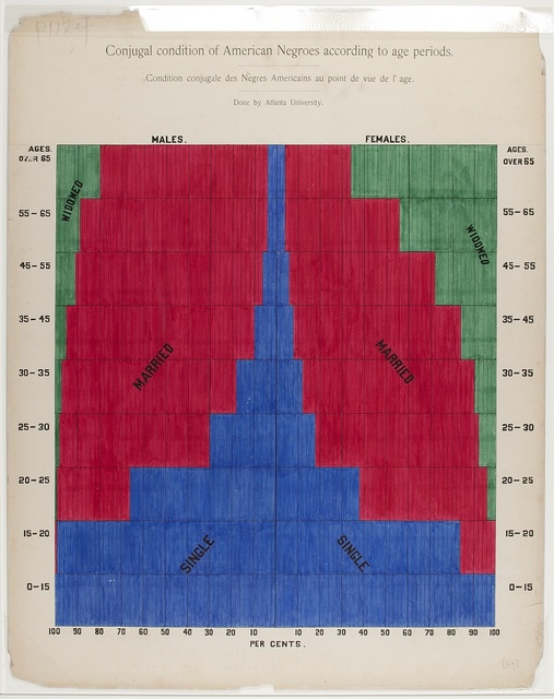 [A series of statistical charts illustrating the condition of the descendants of former African slaves now in residence in the United States of America] Conjugal condition of American Negroes according to age periods.