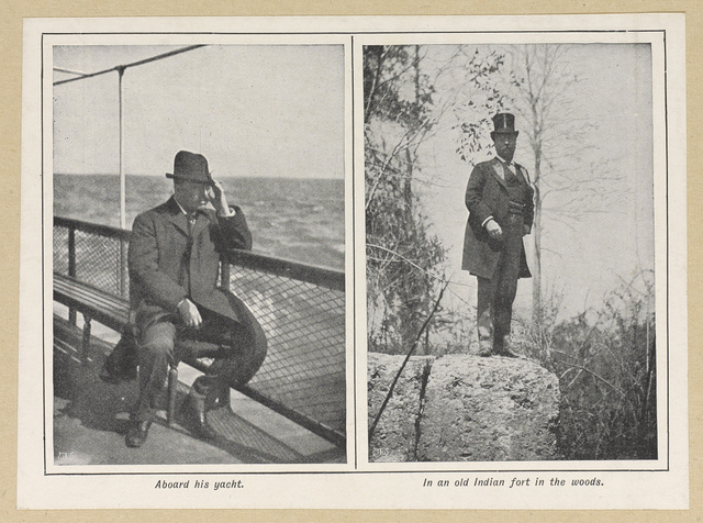 Aboard his yacht; In an old Indian fort in the woods