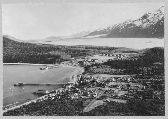 Aerial view of Haines, location of Fort Seward