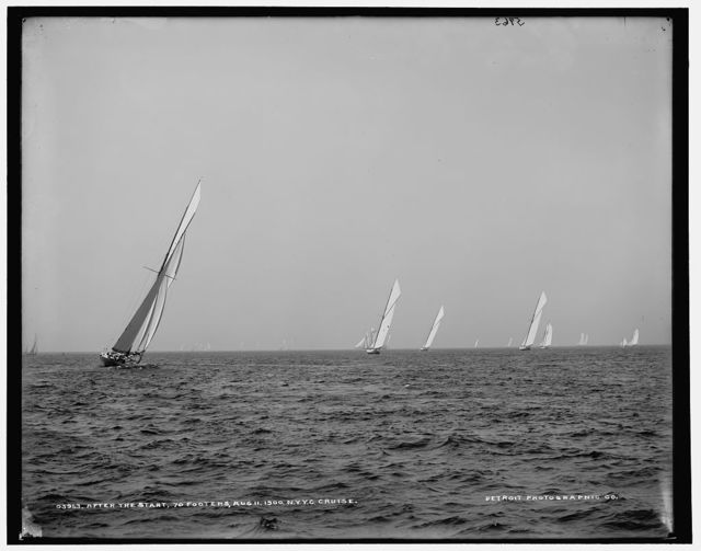 After the start, 70 footers, Aug. 11, 1900, N.Y.Y.C. [i.e. New York Yacht Club] cruise