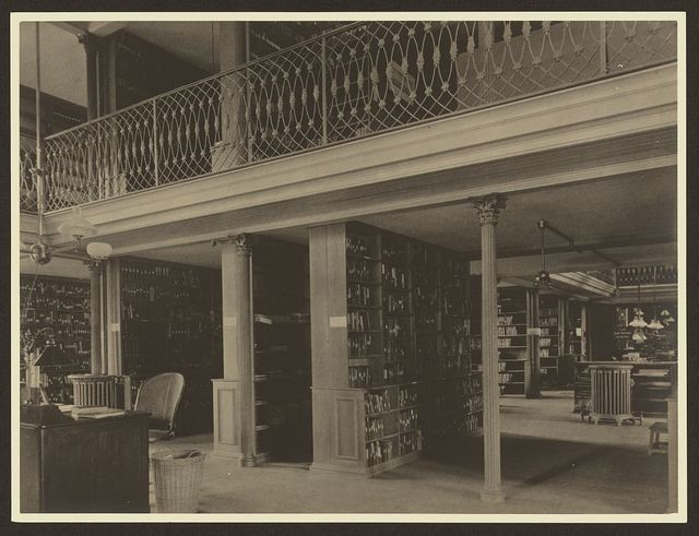 [Alcoves and gallery in the book room, Brookline Public Library, Brookline Massachusetts]