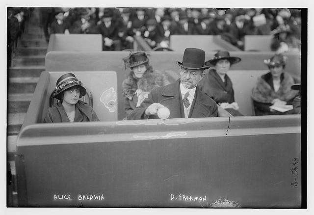 [Alice Baldwin (actress) & Daniel Frohman (producer) at Polo Grounds, New York]
