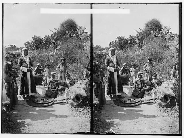 Along the sea coast. Druse [i.e., Druze] women baking bread