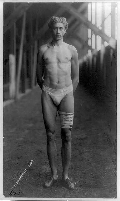 [Alvin C. Kraenzlein, full-length portrait, facing front, standing, with bandaged leg]