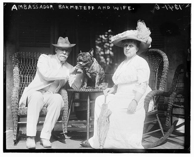 Ambassador Bakhmeteff with wife & dog