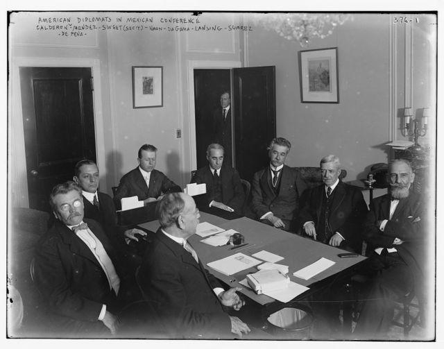 American Diplomats in Mex. Conf.: Calderon, Mendez, Secy. Sweet, Naon, Da Gama, Lansing, Suarex, De Pena