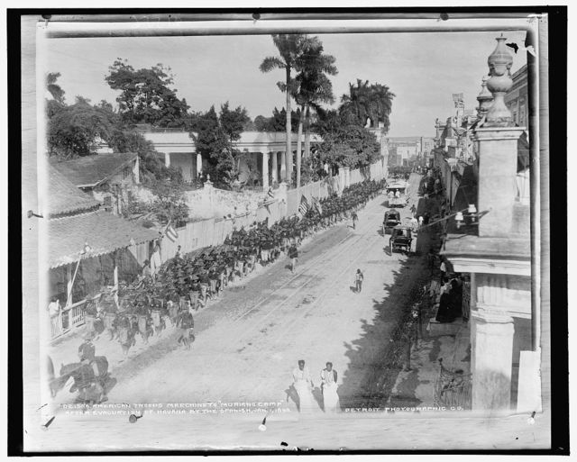 American troops marching to Muriano Camp after evacuation of Havana by the Spanish, Jan. 1, 1899