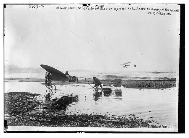 At Nice, Oehlschlager on Bleriot monoplane - Above is Farman aeroplane of Rawlinson