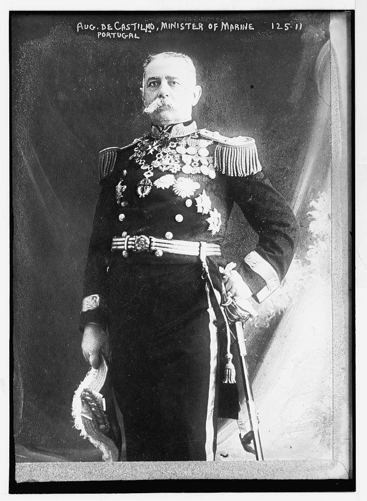 Aug. de Castilho, Minister of Marine, Portugal, standing, three-quarters, in uniform