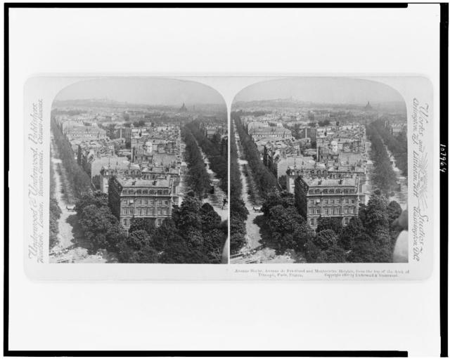 Avenue Hoche, Avenue de Friedland and Montmartre Heights, from the top of the Arch of Triumph, Paris, France