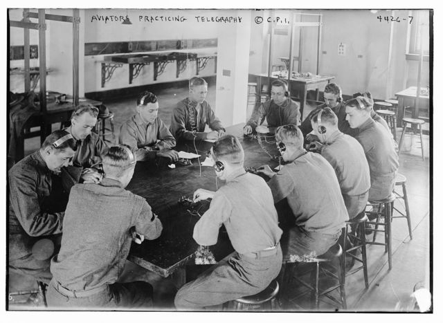 Aviators practicing telegraphy