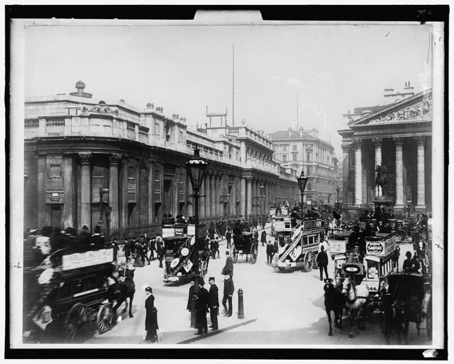 [Bank of England (left) and Royal Exchange (right), London, England]