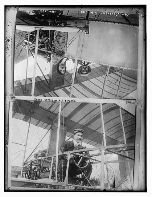 Baron Caters in his biplane