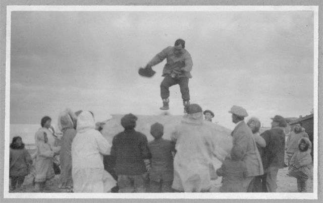Being tossed on a walrus skin at an Eskimo village